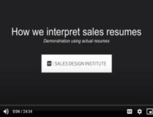 How We Interpret Sales Resumes : Demonstration Using Actual Resumes